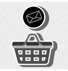 Red basket and envelope isolated icon design vector