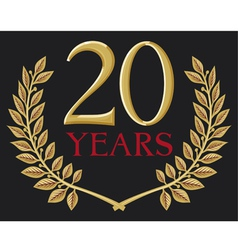 a golden laurel wreath - 20 years vector image vector image