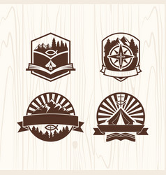 A set of logos of the christian camp vector