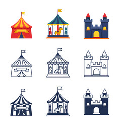 amusement park circus carnival icons collection vector image vector image