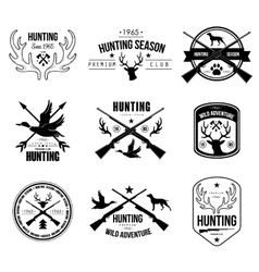 Badges labels logo design elements hunting vector