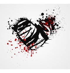 Black grunge heart with thorns vector image