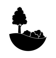 Black trees bushes silhouette natural forest image vector