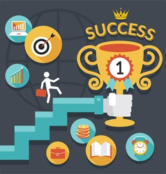 Business concept stairway to success trophy vector