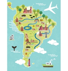 Cartoon map of south america vector