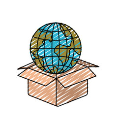 Color crayon silhouette globe earth world coming vector