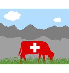 Cow alp and swiss flag vector