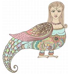 Fairy tale russian fantastic woman bird vector