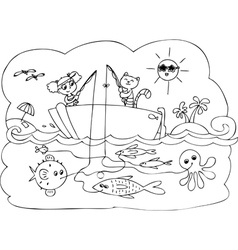 Fish boat game vector image vector image