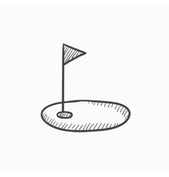 Golf hole with flag sketch icon vector image