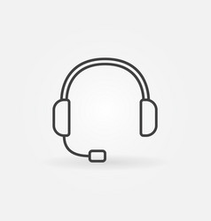 Headset outline icon - customer service vector