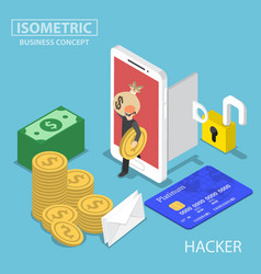 Isometric hacker steal money and data from vector