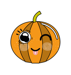 Kawaii nice happy pumpkin vegetable vector