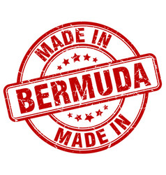 Made in bermuda red grunge round stamp vector
