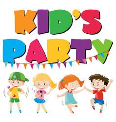 Many kids having fun at party vector