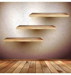 Old wooden interior room with a shelfs EPS 10 vector image vector image