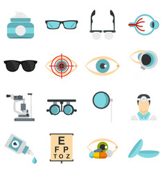 Ophthalmologist tools set flat icons vector