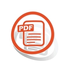 Pdf document sign sticker orange vector