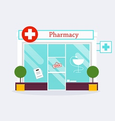 Pharmacy drugstore shop facade flat style vector