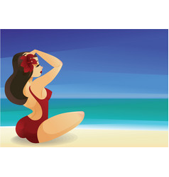 Pinup curvy brunette girl on ocean shore decorates vector