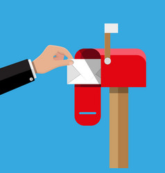red opened mailbox with regular mail inside vector image vector image