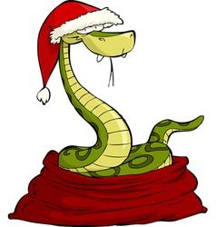 santa snake in the bag vector image vector image