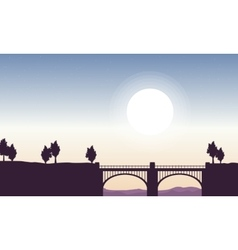 Silhouette of bridge beautiful landscape vector image vector image