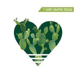vintage tropical summer cactus heart design vector image