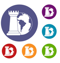 World planet and chess rook icons set vector