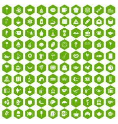 100 tea party icons hexagon green vector