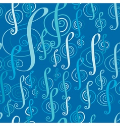 Seamless music pattern with a treble clef vector