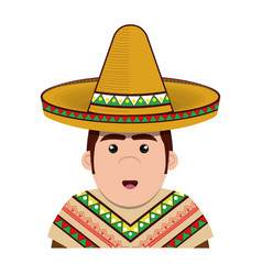 Half body man mexican with hat vector