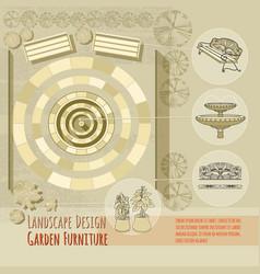 bench fountain railings garden accessory on vector image