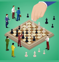 Miniature business people playing chess vector