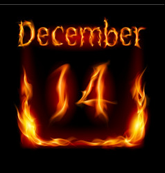 Fourteenth december in calendar of fire icon on vector