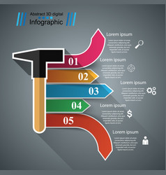 recovery and repair hammer business infographics vector image