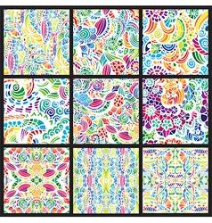 Set of nine hand-drawn seamless patterns vector image