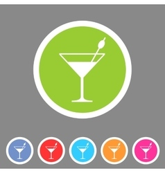 Cocktail icon flat web sign symbol logo label vector