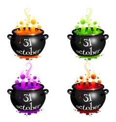 Set of witches cauldrons with colorful brew vector