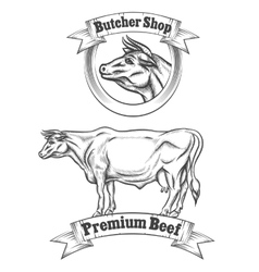 Premium beef meat label butcher emblems or vector