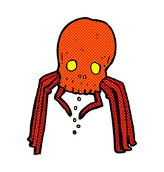 Comic cartoon spooky skull spider vector