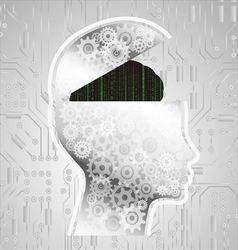 Abstract matrix code brain vector image