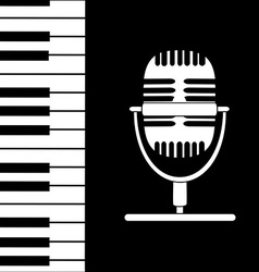 Music background with keyboard and microphone vector