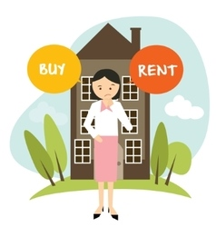 Buy or rent house home apartment woman decide vector