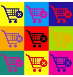 Shopping cart and x mark icon delete sign vector