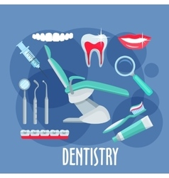Dental care flat icon for dentistry design vector