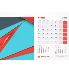 April 2016 desk calendar for 2016 year stationery vector