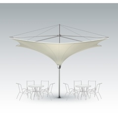Beige inversed outdoor cafe parasol for branding vector