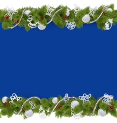 Blue Christmas Border with Beads vector image vector image