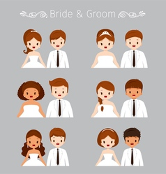 Bride And Groom Portrait In Wedding Clothing Set vector image vector image